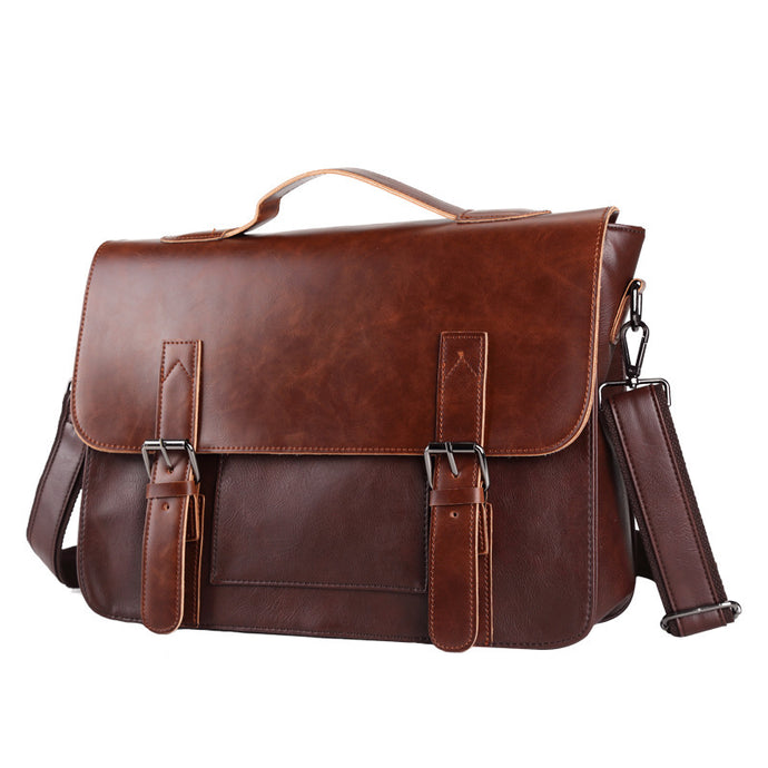 Vintage Leather Briefcases Men Messenger Bags Brown - ALL NECKTIES