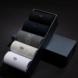 Business Men Socks Plain Classic Socks Solid Cotton 10pcs=5pair Gift Box - ALL NECKTIES