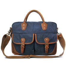 G-FAVOR Retro Men's Briefcase Business Crazy Horse Leather&Canvas Handbag Men Computer Messenger Bags - ALL NECKTIES