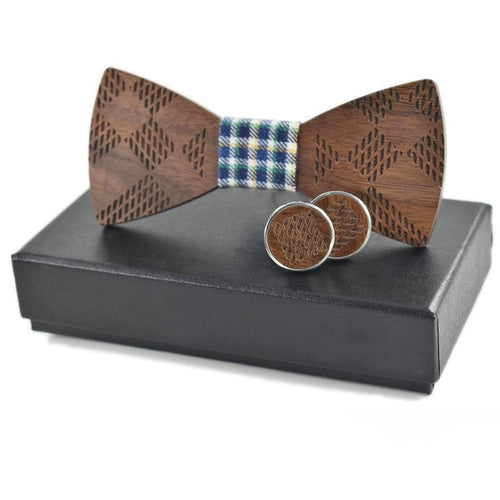 Wood Bowtie & Cufflinks Set for Men  Wooden style - ALL NECKTIES