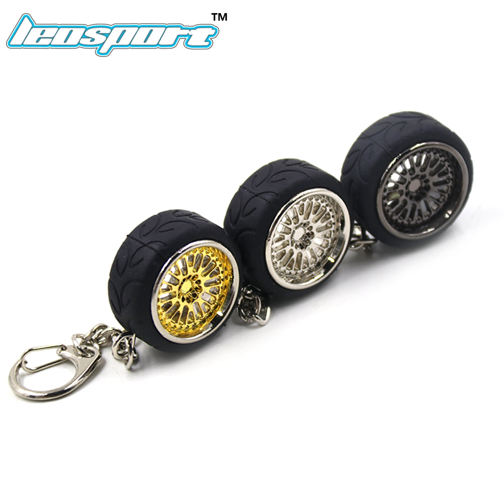 Split 10-Spoke Wheel and Tire with Chrome Lip Keychain