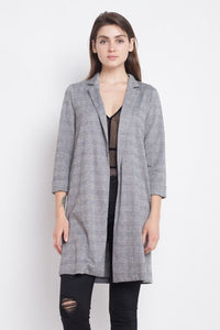 Long-line Plaid Blazer