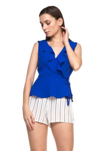 Royal Blue Ruffle Peplum Top