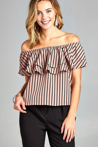 Mauve Ruffle Striped Top