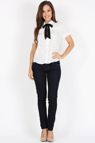 Polka Dot White Collar Top