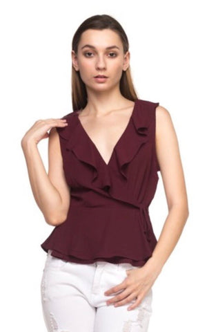 Burgundy Ruffle Peplum Top