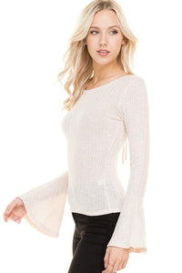 Light Beige Bell Sleeve Top