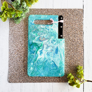 Marigot Art Miami Florida Home Decor Hand Painted Handmade Original Resin Acrylic Art Unique Tropical Gift Acrylic Pour Cutting Board Serving Tray Bamboo Green Blue Pink