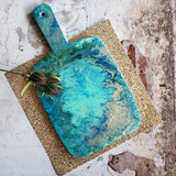 Marigot Art Miami Florida Home Decor Hand Painted Handmade Original Resin Acrylic Art Unique Tropical Gift Acrylic Pour Blue Green Turquoise Teal Silver