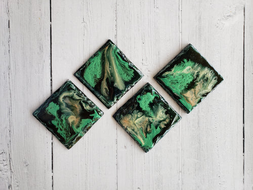 Marigot Art Miami Home Decor Ceramic Coasters Hand Painted Resin Acrylic