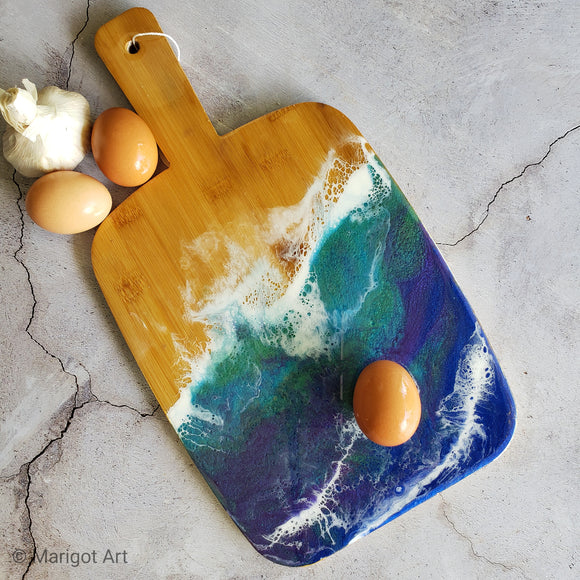 Marigot Art Miami Florida Home Decor Hand Painted Handmade Original Resin Acrylic Art Unique Tropical Gift Acrylic Pour Cutting Board Serving Tray Bamboo Blue Green White Ocean Beach