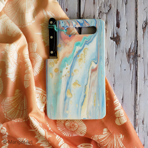 Marigot Art Miami Florida Home Decor Hand Painted Handmade Original Resin Acrylic Art Unique Tropical Gift Acrylic Pour Cutting Board Serving Tray Bamboo Blue Turquoise Gold Pink