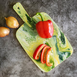 Marigot Art Miami Florida Home Decor Hand Painted Handmade Original Resin Acrylic Art Unique Tropical Gift Acrylic Pour Cutting Board Serving Tray Bamboo Yellow White Green
