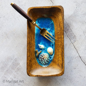 Marigot Art Miami Florida Home Decor Hand Painted Handmade Original Resin Acrylic Art Unique Tropical Gift Acrylic Pour Shells Ocean Dish
