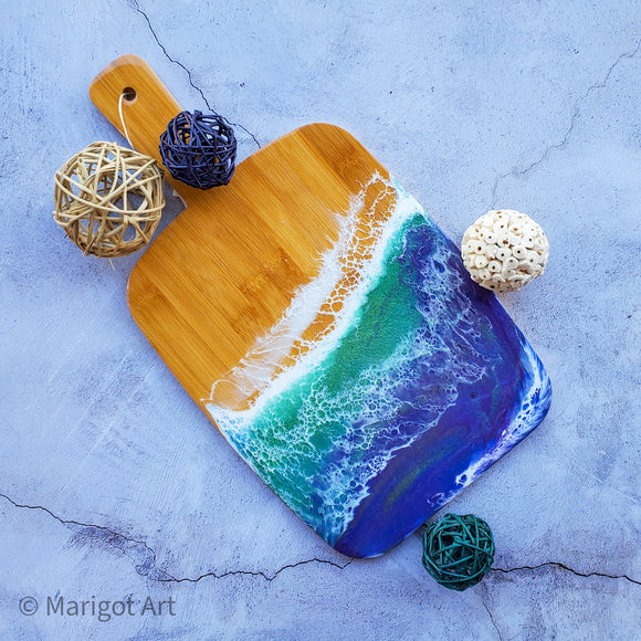 Marigot Art Miami Florida Home Decor Hand Painted Handmade Original Resin Acrylic Art Unique Tropical Gift Acrylic Pour Cutting Board Serving Tray Bamboo
