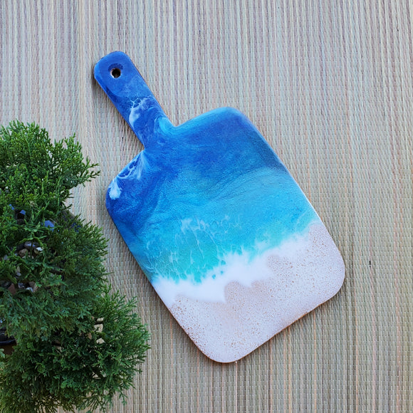 Marigot Art Miami Florida Home Decor Hand Painted Handmade Resin Acrylic Art Unique Tropical Gift Acrylic Pour Cutting Board Art Serving Tray Bamboo Abstract Charcuterie Gift Interior Design Interior Styling Beach Art