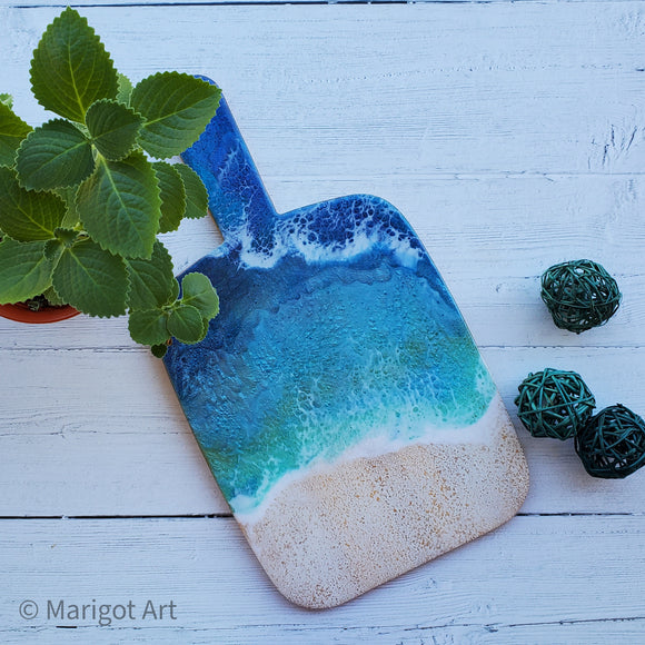 Marigot Art Miami Florida Home Decor Hand Painted Handmade Resin Acrylic Art Unique Tropical Gift Acrylic Pour Cutting Board Art Serving Tray Bamboo Abstract Charcuterie Gift Interior Design Interior Styling