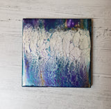 Ceramic Coaster Purple Blue White Gold