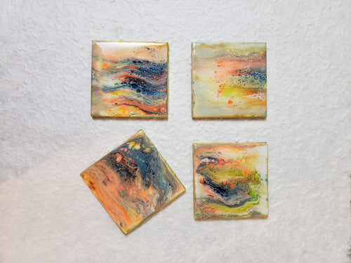 Ceramic Coaster Yellow Orange Blue Green