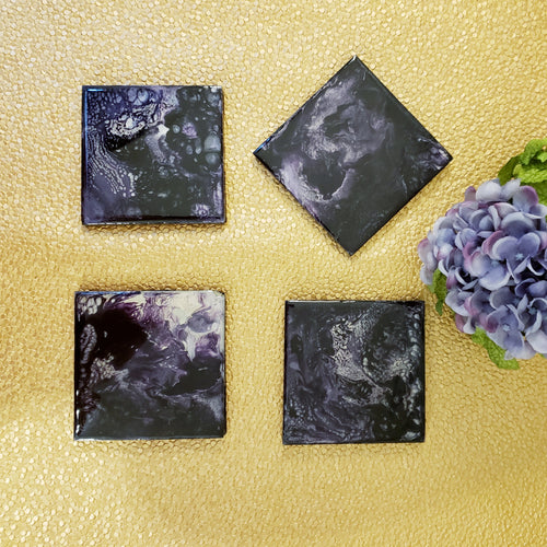 Slate Coaster Purple Silver