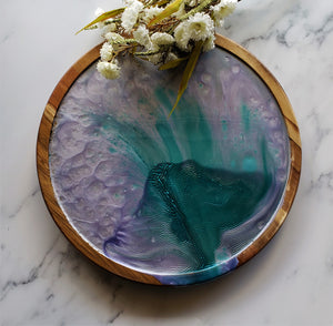Wood Lazy Susan Serving Tray Lavender Turquoise