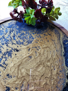 Wood Lazy Susan Serving Tray Blue Gold
