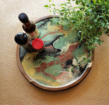 Marigot Art Wood Lazy Susan Red Black Gold Green White