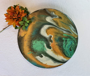 Marigot Art Wood Lazy Susan Green Orange White Brown