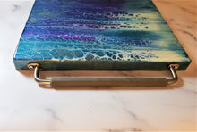 Marigot Art Wood Serving Tray with Handles Purple Blue Turquoise Silver Gold Pearl