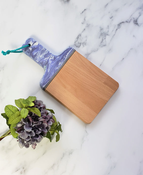 Wood Paddle Cutting Board Purple White