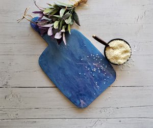 Marigot Art Bamboo Paddle Tray Cutting Board Poured Paint Home Decor
