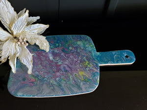 Marigot Art Bamboo Paddle Lavender Turquoise Yellow Silver Home Decor Poured Art Resin Miami