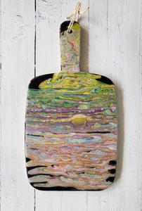 Marigot Art Miami Home Decor Bamboo Paddle Hand Painted Poured Paint Resin Art
