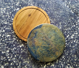 Wood Serving Tray Cutting Board Blue Gold Silver