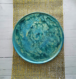 Wood Serving Tray Turquoise Teal Gold