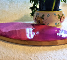 Marigot Art Wood Surfboard Small Serving Tray Cutting Board Pink Magenta