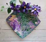Marigot Art Bamboo Tray Purple Green White Pink Cream Cutting Board Poured Art Resin