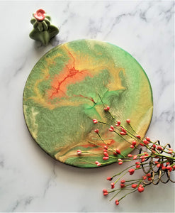 Wood Serving Tray Cutting Board Peach Green Gold Cream