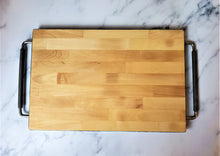 Marigot Art Wood Serving Tray with Handles Back