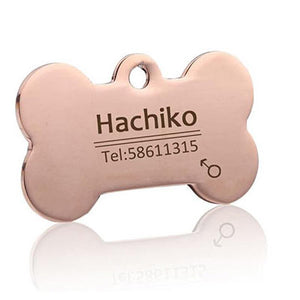 Rose Gold Bone Dog Collar Tag With Engraving