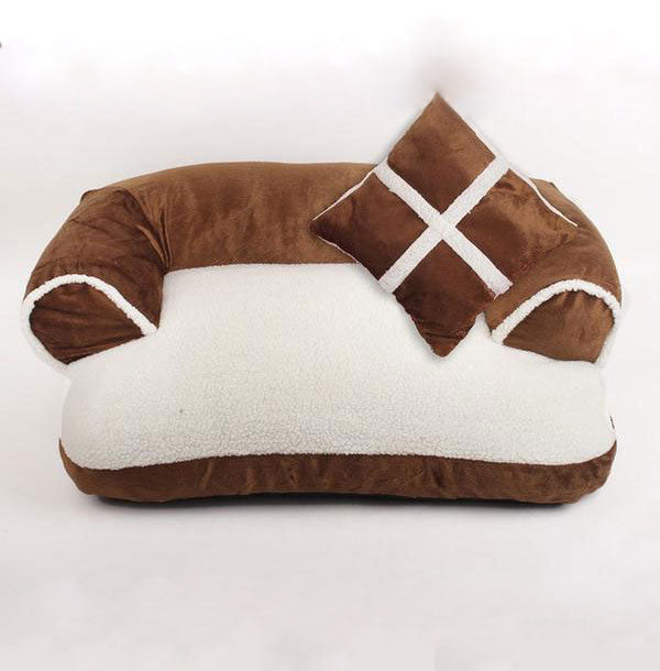Brown Double Cushion Dog Bed