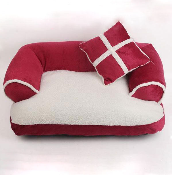 Red Double Cushion Dog Bed
