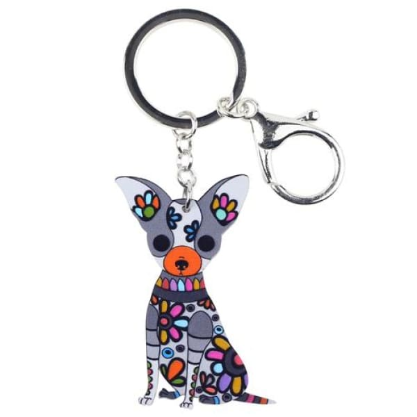 Ornament Chihuahua Keyring - Black - Key Ring