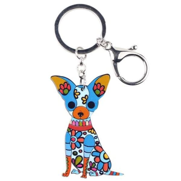 Ornament Chihuahua Keyring - Blue - Key Ring