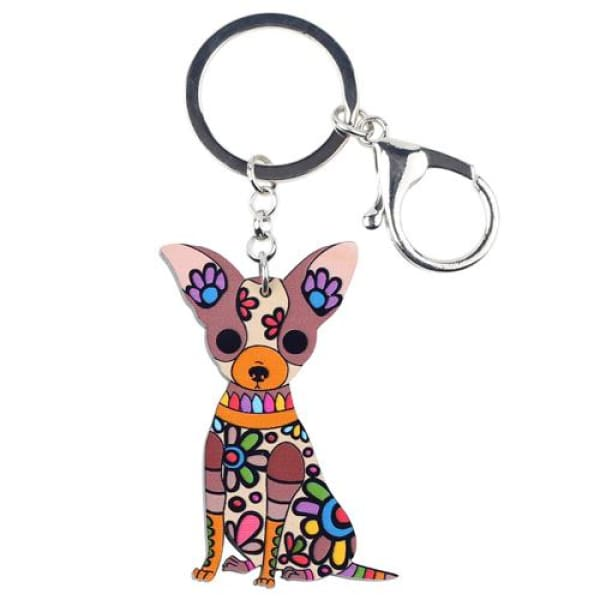 Ornament Chihuahua Keyring - Brown - Key Ring