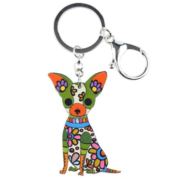 Ornament Chihuahua Keyring - Green - Key Ring