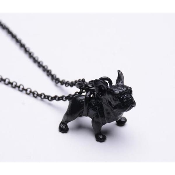 Realistic French Bulldog Necklace - black - Necklace