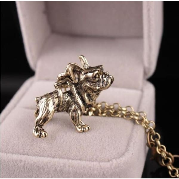 Realistic French Bulldog Necklace - gold - Necklace