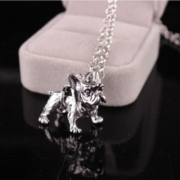 Realistic French Bulldog Necklace - silver - Necklace