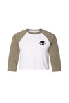 Crop Top Baseball T Olive Green